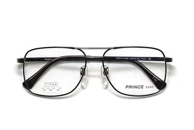 薄型レンズ付メガネセット オーソドックス紳士モデル ツーブリッジ プリンス 3543-BR(ブラウン) 52サイズ