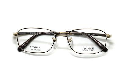 薄型レンズ付メガネセット オーソドックス紳士モデル ワンブリッジ プリンス 3608-GP(ゴールド) 56サイズ