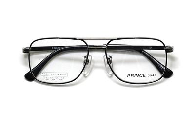 薄型レンズ付メガネセット オーソドックス紳士モデル ツーブリッジ プリンス 3543-GR(グレー) 56サイズ