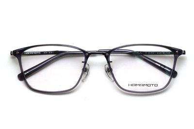 薄型レンズ付メガネセット Hamamoto ハマモト HT 331-4 グレー/ブラック【男女兼用】【日本製】【フルリム】