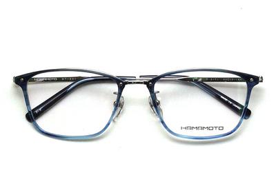 薄型レンズ付メガネセット Hamamoto ハマモト HT 331-3 ネイビーハーフ/シルバー【男女兼用】【日本製】【フルリム】