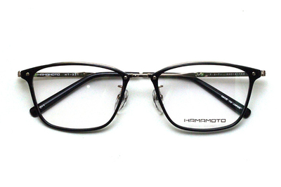 薄型レンズ付メガネセット Hamamoto ハマモト HT 331-1 ブラック/ゴールド【男女兼用】【日本製】【フルリム】
