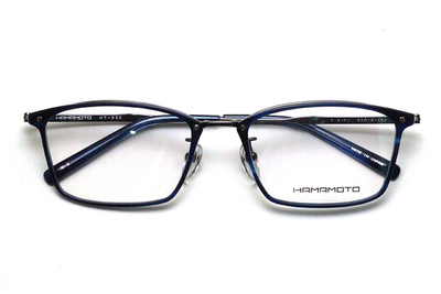 薄型レンズ付メガネセット Hamamoto ハマモト HT 332-3 ネイビー/グレー【男女兼用】【日本製】【フルリム】