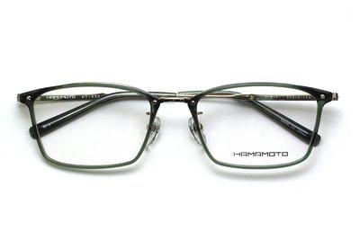 薄型レンズ付メガネセット Hamamoto ハマモト HT 332-1 カーキ/ゴールド【男女兼用】【日本製】【フルリム】