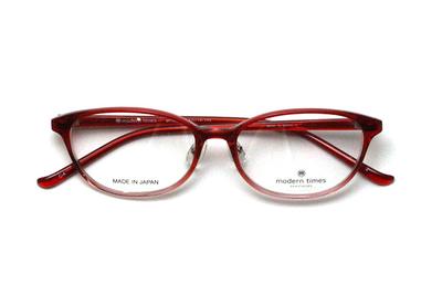薄型レンズ付メガネセット ModernTimes MT 8020-4 レッドハーフ【ユニセックス】【男女兼用】【アセテート】【日本製】