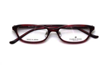 薄型レンズ付メガネセット ModernTimes MT 8021-3 レッドササ【ユニセックス】【男女兼用】【アセテート】【日本製】