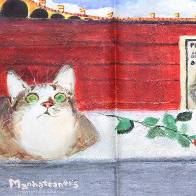 マンハッタナーズ メガネ拭き MX300MAN MAN 27【猫を主人公としたアート】【ワイピングクロス】【日本製】【ネコポス発送可】