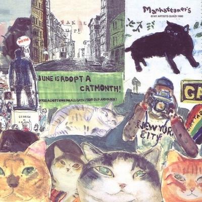 マンハッタナーズ メガネ拭き MX300MAN MAN 26【猫を主人公としたアート】【ワイピングクロス】【日本製】【ネコポス発送可】