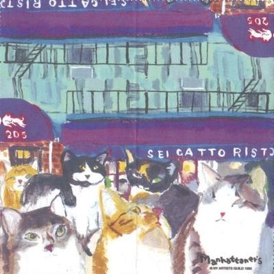 マンハッタナーズ メガネ拭き MX300MAN MAN 18【猫を主人公としたアート】【ワイピングクロス】【日本製】【ネコポス発送可】