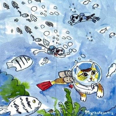 マンハッタナーズ メガネ拭き MX300MAN MAN 13【猫を主人公としたアート】【ワイピングクロス】【日本製】【ネコポス発送可】