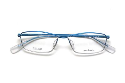 薄型レンズ付メガネセット monblue モンブルー MO 019-6 ブルーマットハーフ【ユニセックス】【男女兼用】【日本製】【三工光学】【メタル】