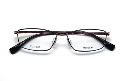 薄型レンズ付メガネセット monblue モンブルー MO 019-14 ブラック/レッド【ユニセックス】【男女兼用】【日本製】【三工光学】【メタル】