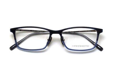 薄型レンズ付メガネセット Hamamoto ハマモト HT 568-3 ネイビーハーフ×クリアー/シルバー【男女兼用】【日本製】【フルリム】