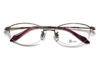 薄型レンズ付メガネセット Hamamoto H ハマモト エイチ H 1152-2 ピンク【レディース】【女性用】【日本製】【軽量フレーム】【ハーフリム】