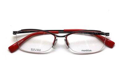 薄型レンズ付メガネセット monblue モンブルー MO 021-4 ブラック(レッド)【ユニセックス】【男女兼用】【日本製】【三工光学】【ハーフリム】