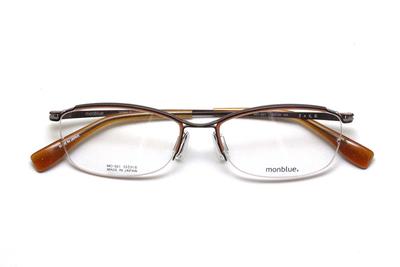 薄型レンズ付メガネセット monblue モンブルー MO 021-3 ブラウンマット(オレンジ)【ユニセックス】【男女兼用】【日本製】【三工光学】【ハーフリム】