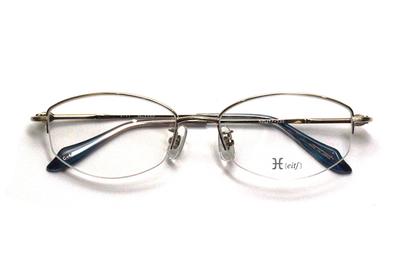 薄型レンズ付メガネセット Hamamoto H ハマモト エイチ H 1152-4 ゴールド/シルバー【レディース】【女性用】【日本製】【軽量フレーム】【ハーフリム】