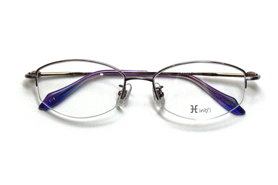 薄型レンズ付メガネセット Hamamoto H ハマモト エイチ H 1152-3 バイオレット【レディース】【女性用】【日本製】【軽量フレーム】【ハーフリム】
