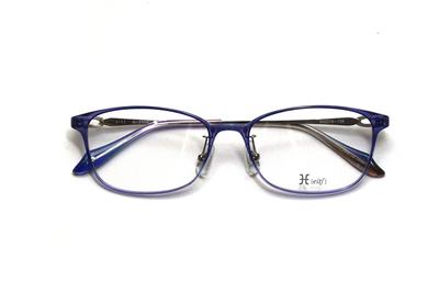 薄型レンズ付メガネセット Hamamoto H ハマモト エイチ H 1154-4 バイオレットハーフ【レディース】【女性用】【日本製】【軽量フレーム】【フルリム】