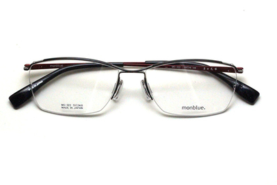 薄型レンズ付メガネセット monblue モンブルー MO 022-14 ブラック/レッド【ユニセックス】【男女兼用】【日本製】【三工光学】【ハーフリム】