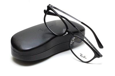 薄型レンズ付メガネセット Rayban レイバン 7182D-5985 ブラック/グレー【ユニセックス】【男女兼用】【コンビ】