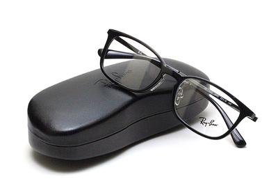 薄型レンズ付メガネセット Rayban レイバン 7182D-2000 ブラック/ブラック【ユニセックス】【男女兼用】【コンビ】