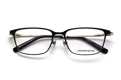 薄型レンズ付メガネセット Hamamoto ハマモト HT 333-1 ブラック/ゴールド【男女兼用】【日本製】【フルリム】