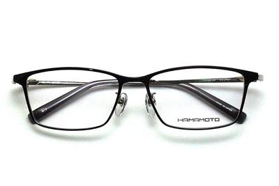 薄型レンズ付メガネセット Hamamoto ハマモト HT 334-2 ブラック/シルバー【男女兼用】【日本製】【フルリム】