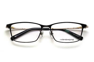 薄型レンズ付メガネセット Hamamoto ハマモト HT 334-1 ブラック/ゴールド【男女兼用】【日本製】【フルリム】