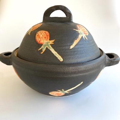 天水窯 黒釉あざみ手造り鍋