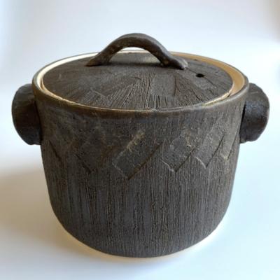 利行窯 黒釉切立煮込み鍋