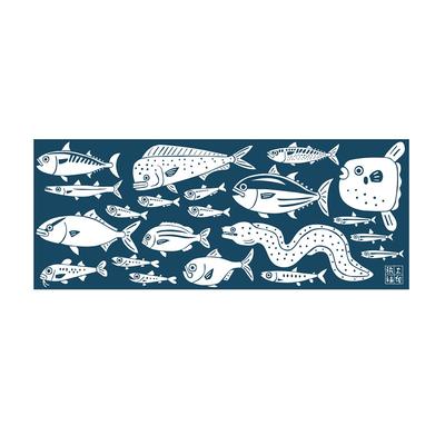 土佐手拭い 単色白地 土佐海魚