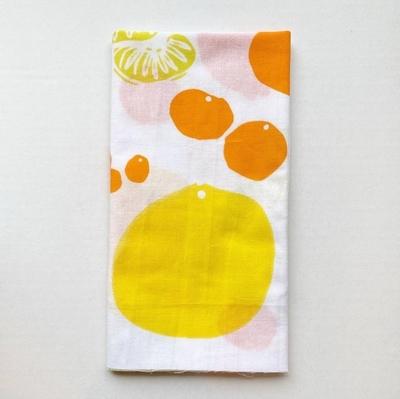 土佐手拭い 単色白地  土佐柑橘手拭い