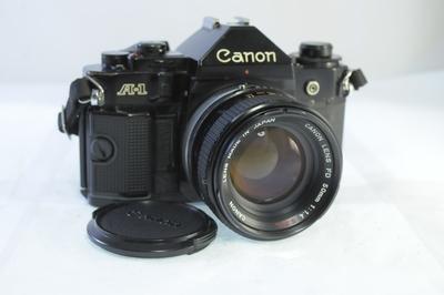 【B】キャノン CANON A-1 ボディ+50mm F1.4 S.S.C. シャッター全速・露出計完動