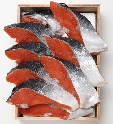 カナダ産天然紅鮭 片身切身〔中塩〕木箱入