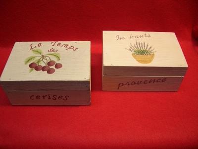 木製ミニボックス (蓋付き) (2種)cerises/provence
