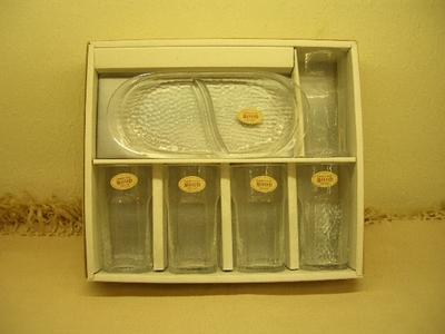 MOOD グラスセット 箱入り (ガラスコップ(5個) & トレイ(1枚))