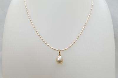 南洋真珠11×10㎜/淡水真珠2×2㎜~4×2㎜/K18