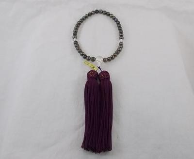真珠 黒染6㎜/水晶(正絹)