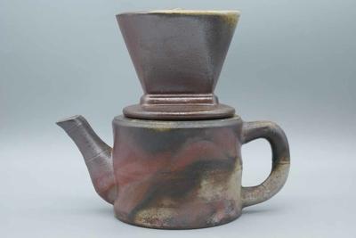 窯元 松園 作 備前 ドリッパー付コーヒーポット