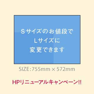 HPリニューアルキャンペーン!! Sサイズの価格でLサイズに変更できます!!