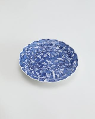 花鳥 七寸桔梗渕皿[かちょう ななすんききょうふちざら]