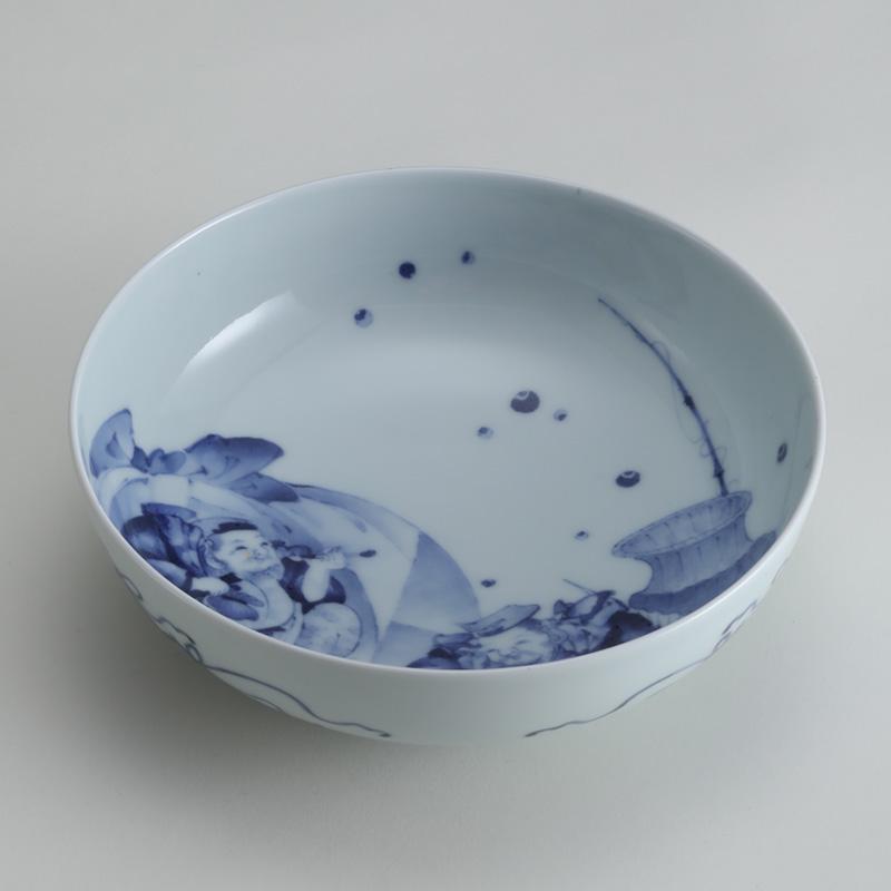 里見要之助 染付恵比寿絵鉢