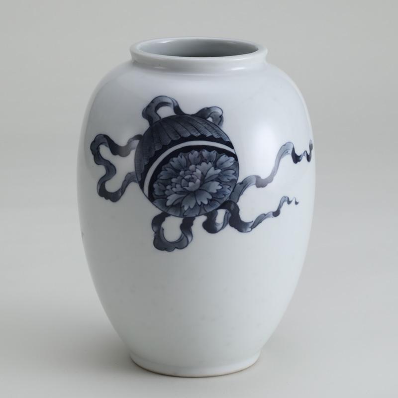 里見要之助 黒呉須(くろごす)染付獅子花瓶