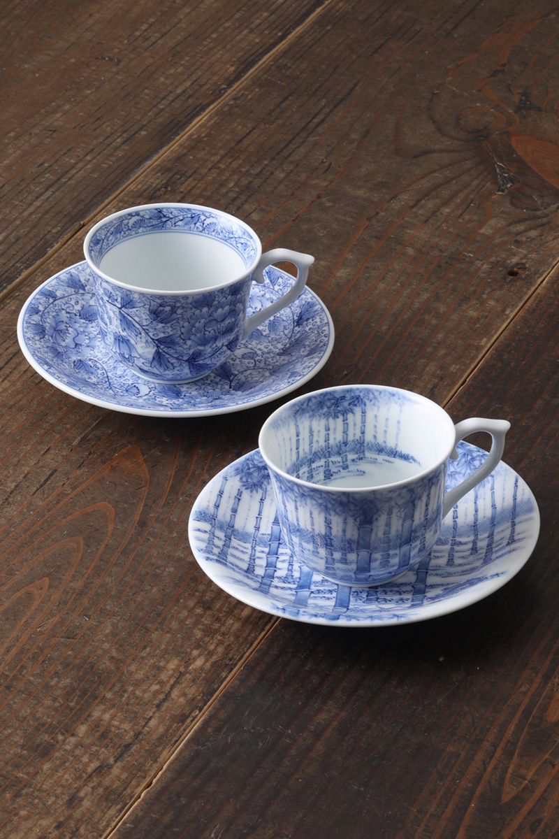 嘉久正窯:現代の代表作品:竹林コーヒー碗皿・牡丹唐草コーヒー碗皿