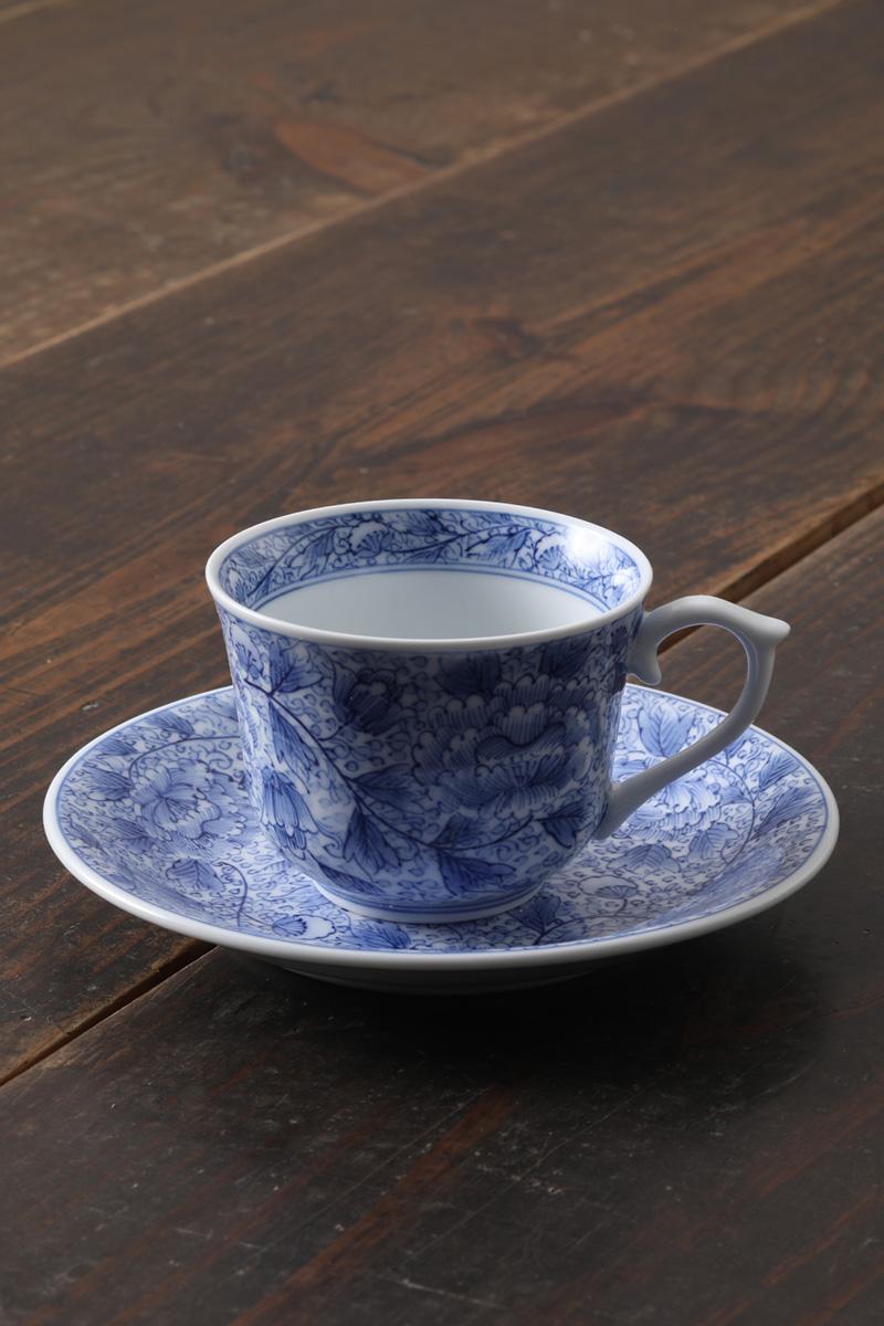 嘉久正窯:現代の代表作品:牡丹唐草コーヒー碗皿