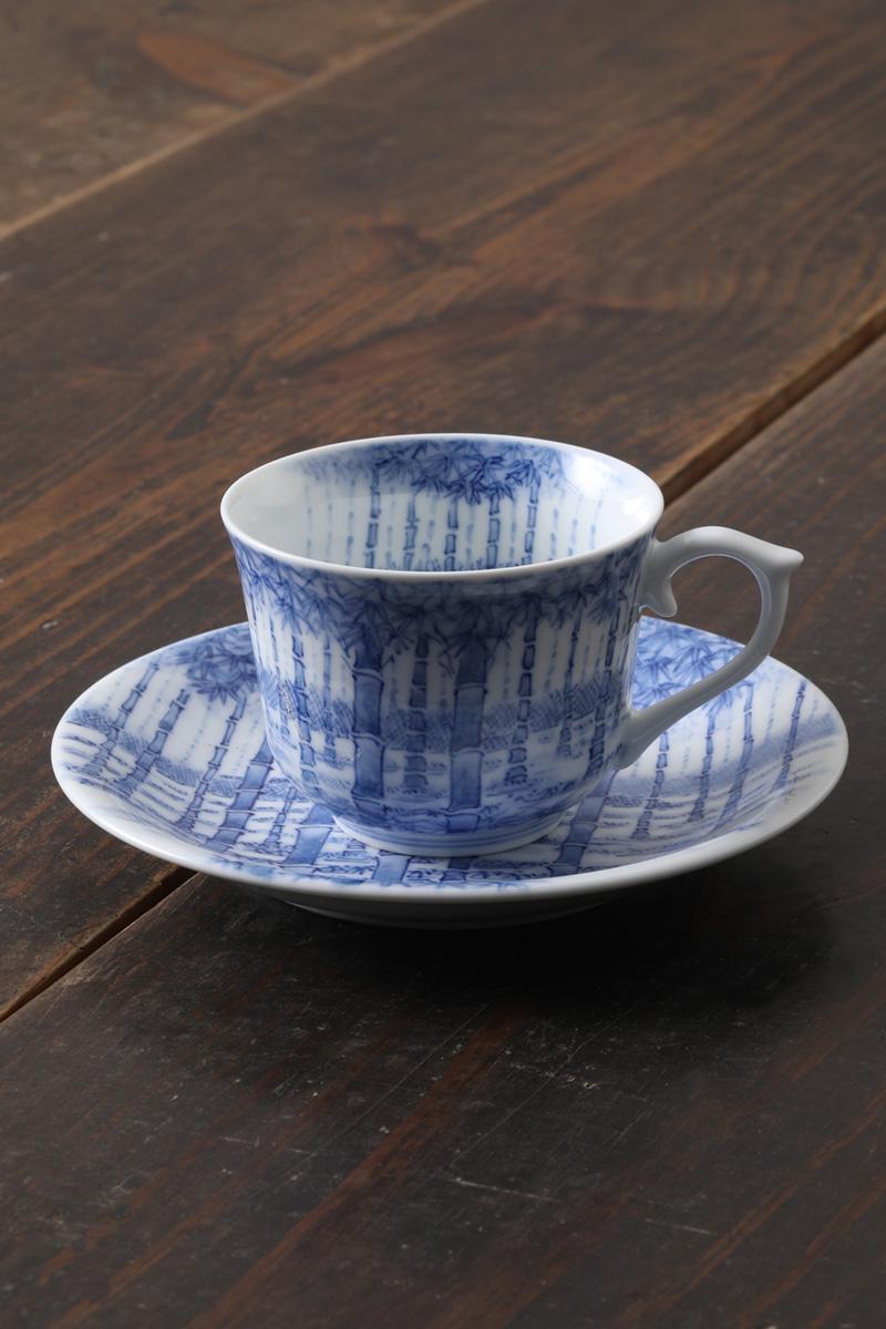 嘉久正窯:現代の代表作品:竹林コーヒー碗皿