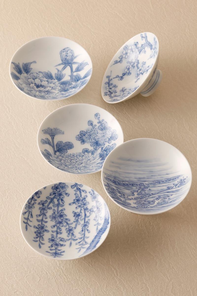 嘉久正窯:現代の代表作品:絵替り盃(梅、波、桜、菊、牡丹)