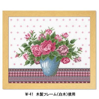 バラとライトブルーの花瓶 刺繍キット No.7479