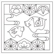 花ふきん布パック 亥と松竹梅